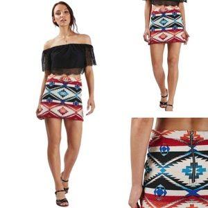 NWT • Topshop Southwest Jacquard Mini Skirt